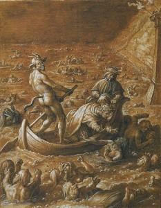 Stradanus'un Styks Nehri'ne batmış cesetler üzerinde kürek çeken Phlegyas resmi