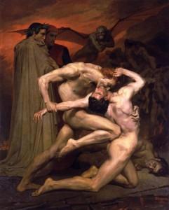 Bouguereau'nun iki çıplak adamın dövüşünü seyreden Dante ve Vergilius'un erotik tasviri