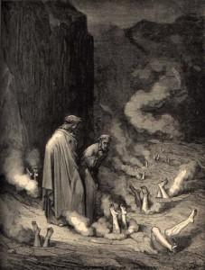 """Malebolge'nin dokuzuncu hendeği, bacakalrı topraktan dışarı doğru çıkan, yarıya kadar tepetakla gömülmüş günahkarlarla doluydu."""""""
