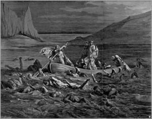 Stxy ırmağı ve Philegyas. Sandalın üzerinde Dante ve rehberi Vergilius. Gustave Dore gravürü.