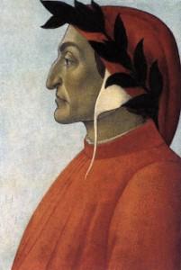 Botticelli tarafından yapılmış Dante portresi. Botticelli Dante'nin başlığına bir defne dalı yerleştirmiştir. Bunu Dante'nin ustalığının sembolü olarak yapmıştır