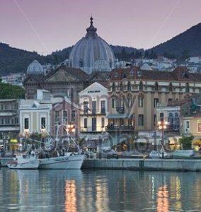 greece-island-lesbos-mytilene-city-view-church-agios-therapon-evening-b9h27p-2